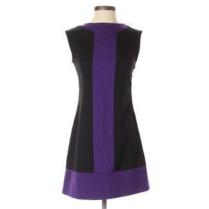 Abaete Black & Blue Color Block Wool Dress